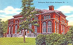 Burlington  VT Burlington High School Postcard p37921 (Image1)