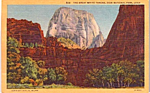 Zion National Park Ut The Great White Throne Postcard P37933