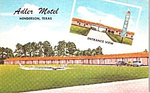 Henderson TX Adler Motel  Postcard p37934 (Image1)