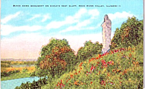 Rock River Valley Il Black Hawk Monument Postcard P37939