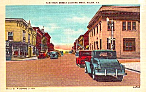 Salem Va Main Street Looking West Postcard P37944