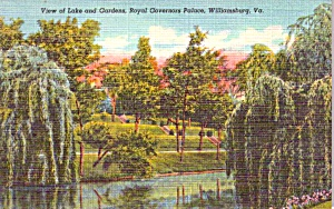 Williamsburg Va Governor S Palace Lake Gardens Postcard P37947