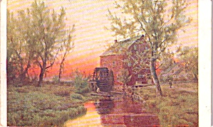 Postcard from a Painting of a Stream Mill and Water Wheel P38181 (Image1)