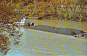 Coal Barge And Tugboat P38254