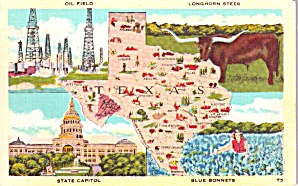 Texas State Map Postcard P38424