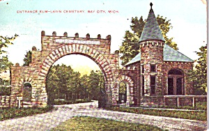 Bay City Mi Entrance To Elm Lawn Cemetery P38490