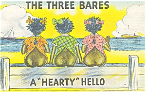 The Three Bares Postcard Linen (Image1)