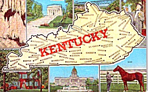 State Map Of Kentucky Postcard P38553