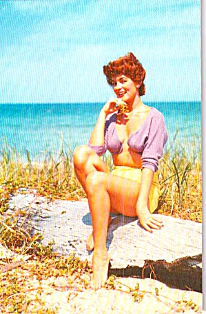 Woman On The Beach Postcard P38717