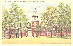 Philadelphia Pa Barry Statue And Independence Hall P38846