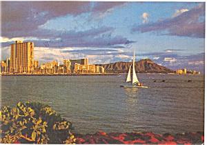 Diamond Head at Sunset Hawaii Postcard p3914 (Image1)