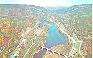 Delaware Water Gap Aerial View Railroad Bridge Looking North p39333 (Image1)