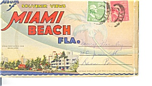 Miami Beach Fl Souvenir Folder 18 Linens