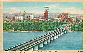 Harrisburg PA Skyline Susquehanna River and Bridges p39674 (Image1)