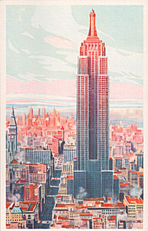 Empire State Building Sunrise New York City From Van Der Hope Watercolor P40241
