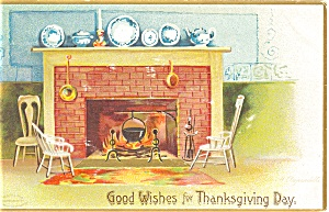 Clapsaddle Thanksgiving Fireplace Postcard p4026 (Image1)