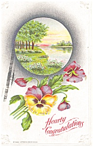 River and Flower Congratulations Postcard p4030 (Image1)