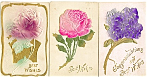 Vintage Best Wishes Flowers Postcard Lot 3 (Image1)