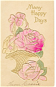Many Happy Days Vintage Postcard (Image1)
