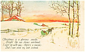 Christmas  Postcard Horse Drawn Sleigh (Image1)