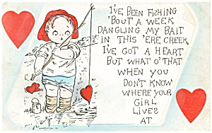 Valentines Fishing  Postcard (Image1)