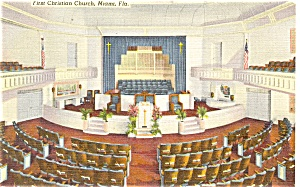 First Christian Church,Miami Postcard  Linen (Image1)