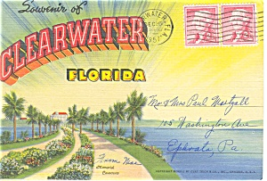 Clearwater Fl Souvenir Folder Postcard