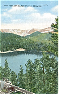 Echo Lake And Mt Evans Co Postcard P4361