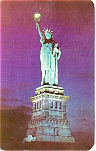 Statue of Liberty at Night Postcard p4427 (Image1)