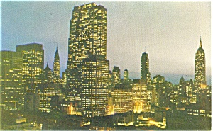 Midtown Manhattan at Night New York City Postcard p4440 (Image1)