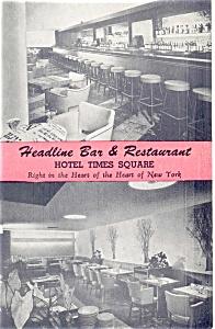 Headline Bar New York City Postcard p4454 (Image1)