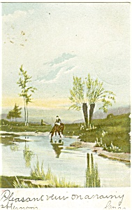 Horseman at Stream Postcard p4563 (Image1)
