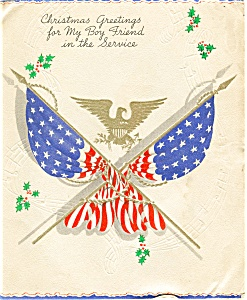 WWII Christmas Card To GI Postcard (Image1)