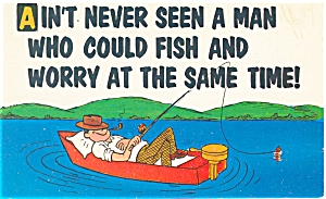 Comical Fishing Card Postcard p4828 (Image1)