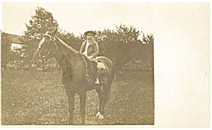 Young Boy On Horseback Postcard Real Photo P4865