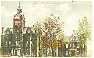 Ravenna OH Courthouse and Jail Postcard (Image1)