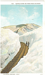Colorado Springs Cog Road Pikes Peak Postcard p5028 (Image1)