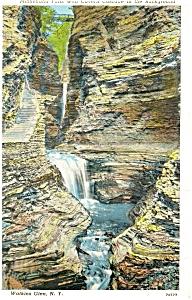 Watkins Glen NY Minnehaha Falls  Postcard (Image1)