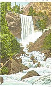 Vernal Falls on Merced River CA Postcard p5114 (Image1)