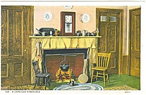 Cape Cod MA Fireplace Postcard p5245 (Image1)