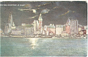 New York City Riverfront at Night Postcard p5316 (Image1)