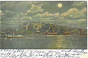 New York City Riverfront Night View Postcard p5317 (Image1)