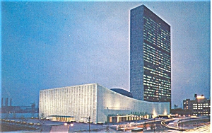 Headquarters of United Nations at Night  Postcard p5339 (Image1)