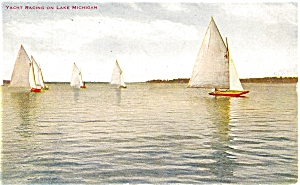 Sailing on Lake Michigan Postcard p5377 (Image1)