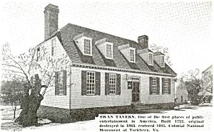 Yorktown VA Swan Tavern Postcard p5435 (Image1)