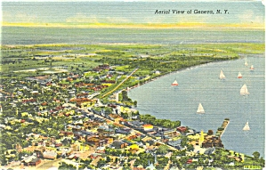 Geneva NY Aerial View Postcard p5461 (Image1)