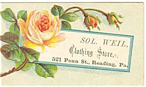 Victorian Trade Card Sol Weil Clothing Store p5604 (Image1)