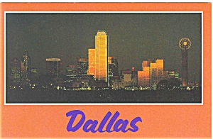 Dallas Texas At Night Postcard P5776