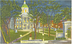 Concord, NH State Capitol Linen Postcard (Image1)