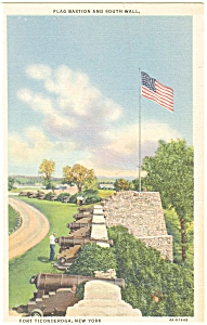 Fort Ticonderoga NY South Wall Linen Postcard p5868 (Image1)